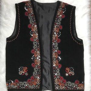 Vintage Black velvet beaded vest boho festival med